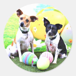 Pascua - fox terrier - Sadie y Baboo Pegatina Redonda