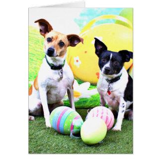 Pascua - fox terrier - Sadie y Baboo Tarjeta De Felicitación