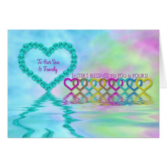 Pascua - hijo y familia - corazones y rosas tarjeta de felicitación