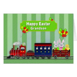 Pascua - nieto - tren/conejitos/globos tarjeta de felicitación