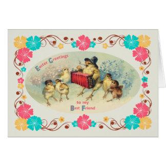 Pascua para los polluelos del Musical del vintage Tarjeta