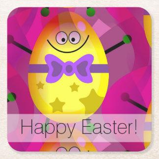 Pascua rosada brillante posavasos de papel cuadrado