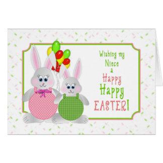 Pascua - sobrina - conejitos y globos tarjeta de felicitación