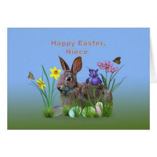 Pascua, sobrina, flores, huevos, y rabino tarjeta