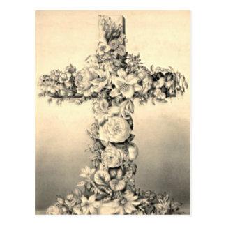 Pascua y cruz floral de Domingo de Ramos Postal