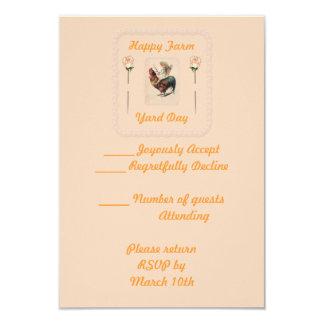 Paseo 2 del gallo del vintage invitación 8,9 x 12,7 cm