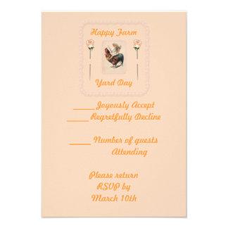 Paseo 2 del gallo del vintage invitaciones personalizada