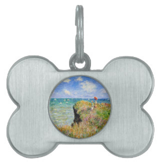 Paseo de Clifftop en Pourville - Claude Monet Placa Para Mascotas