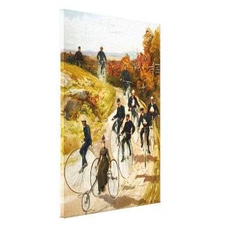 Paseo de la bicicleta del vintage en la lona envue impresión en lienzo estirada