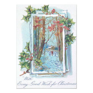 Paseo de la nieve del Winterberry del acebo de la Invitación 12,7 X 17,8 Cm