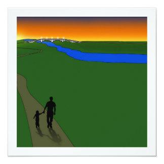 Paseo de la tarde del padre y del niño invitación 13,3 cm x 13,3cm