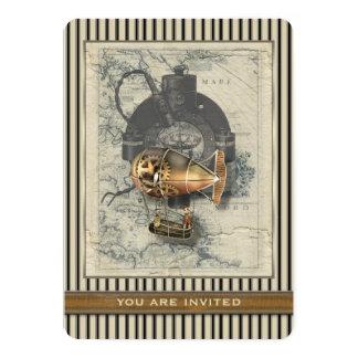 Paseo del globo dirigible de Steampunk cualquier Invitación 12,7 X 17,8 Cm