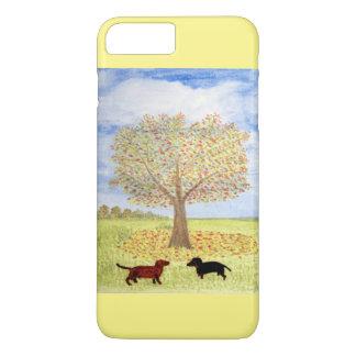 Paseo del otoño del perro del Dachshund Funda iPhone 7 Plus