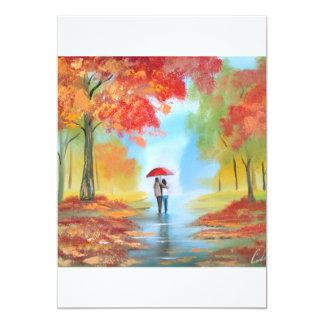 Paseo del otoño invitación 12,7 x 17,8 cm