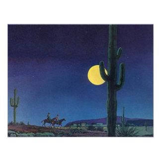 Paseo en blanco del claro de luna del cactus del S Invitacion Personalizada