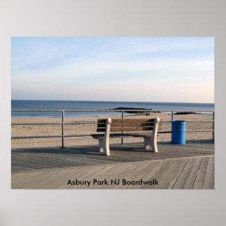Paseo marítimo del parque NJ de Asbury - banco Póster