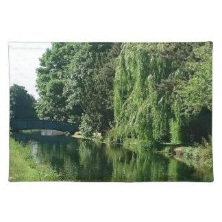 Paseo soleado verde del río de los árboles del mantel individual