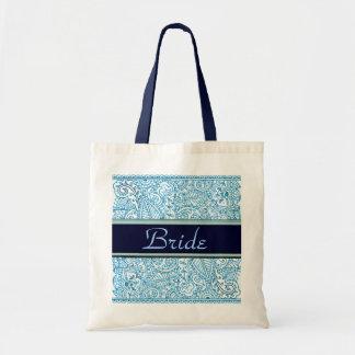 Pasión de Paisley - azul (alheña) (boda) Bolsa Tela Barata