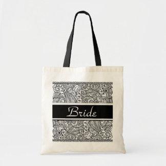Pasión de Paisley - negro (alheña) (boda) Bolsa Tela Barata