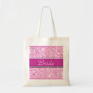Pasión de Paisley - rosa (alheña) (boda) Bolsa Tela Barata