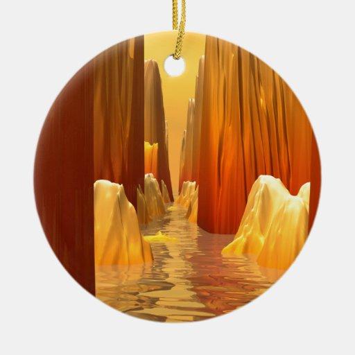 Paso anaranjado del barranco adorno de navidad