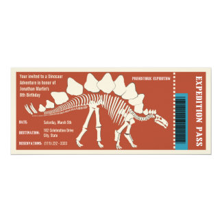 Paso de la aventura del dinosaurio invitación 10,1 x 23,5 cm