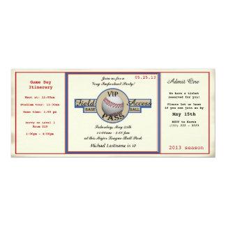 Paso del campo del cumpleaños del béisbol invitación 10,1 x 23,5 cm
