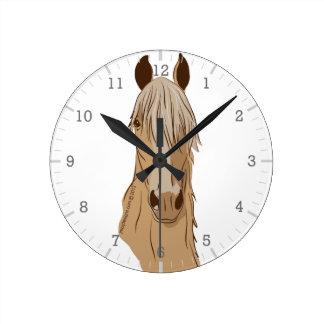 Paso Finos: Cabeza del Palomino del caballo de Reloj Redondo Mediano