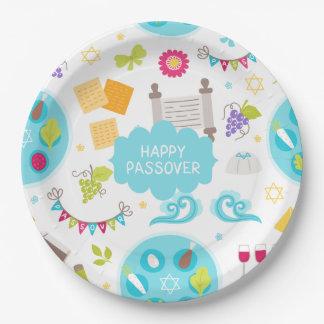 Passover feliz moderno colorido plato de papel