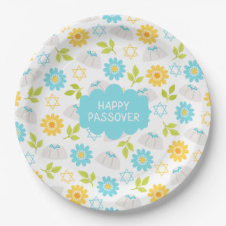 Passover floral Sedar de la primavera Plato De Papel