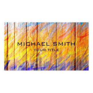 Pastel coloreado en la madera #7 tarjetas de visita