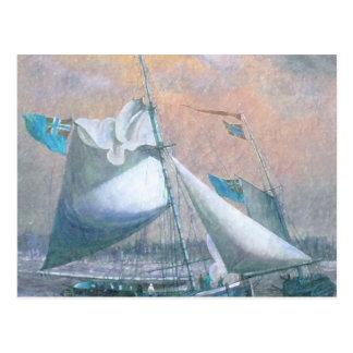 Pastel coloreado pintura del envío de la costa postal