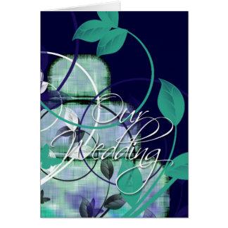 Pastel de bodas azul y verde tarjeta de felicitación