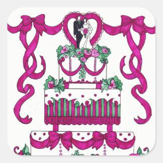 Pastel de bodas cuadrado del pegatina