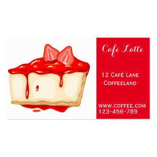 Pastel de queso lindo de la fresa de la cafetería tarjetas de visita