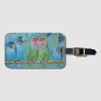 Pastel del aceite de los Lovebirds Etiqueta Para Maletas