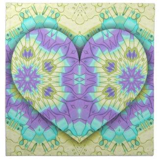 Pastel festivo vibrante 3d en forma de corazón. servilleta de tela