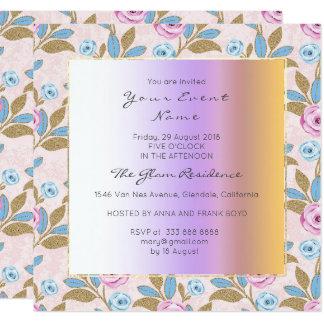 Pastel floral barroco de Versaille Marie Antonieta Invitación 13,3 Cm X 13,3cm