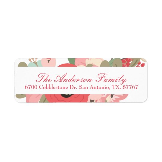 Pastel floral del jardín etiqueta de remite