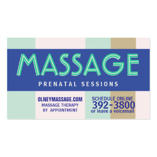 pastel prenatal del masaje 2012 tarjetas de visita