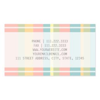 Pastel rayado tarjetas de visita