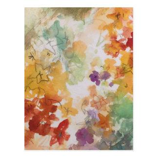 Pasteles florales en esquema del lápiz postal