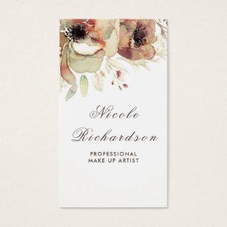 Pasteles suaves de la caída de la acuarela floral tarjeta de visita