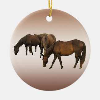 Pasto de caballos adorno redondo de cerámica