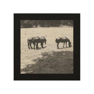 Pasto de caballos impresión en madera