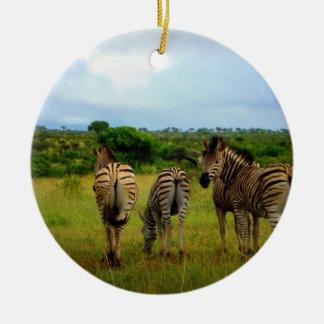 Pasto de cebras africanas adorno redondo de cerámica