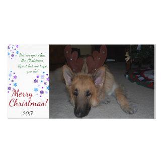 Pastor alemán de la tarjeta de Navidad del