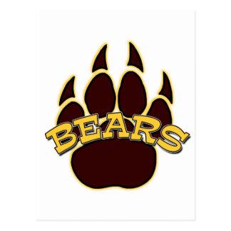 Pata de oso de los OSOS - oro y Brown Tarjetas Postales