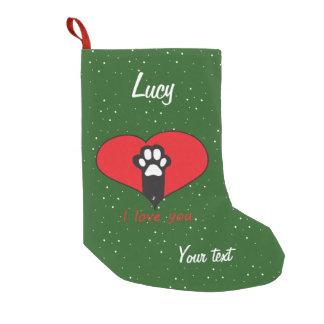 Pata del gato calcetín de navidad pequeño