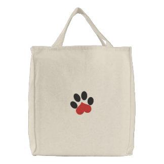 Pata del gato del corazón del amor bolsa de lienzo